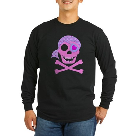 Pink Pirate Skull Long Sleeve Dark T-Shirt