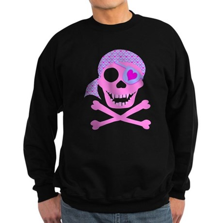 Pink Pirate Skull Sweatshirt (dark)