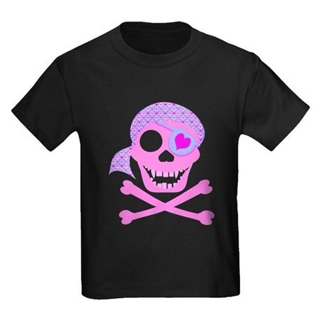 Pink Pirate Skull Kids Dark T-Shirt