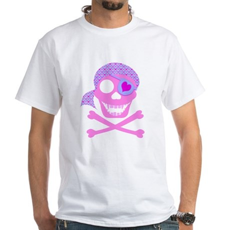 Pink Pirate Skull White T-Shirt