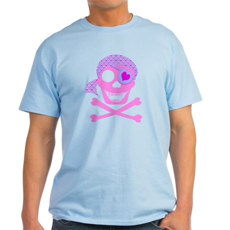 Pink Pirate Skull Light T-Shirt