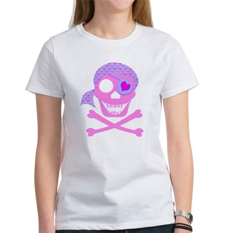 Pink Pirate Skull Women's T-Shirt