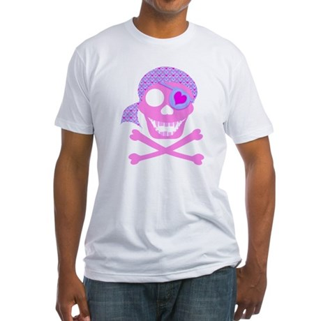 Pink Pirate Skull Fitted T-Shirt