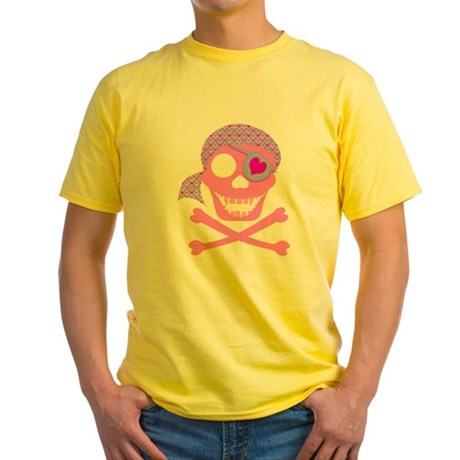 Pink Pirate Skull Yellow T-Shirt