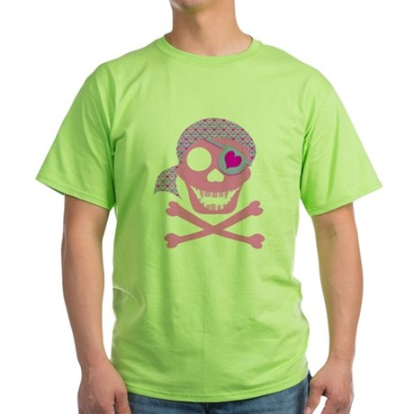 Pink Pirate Skull Green T-Shirt