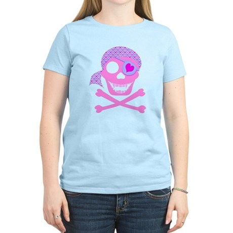 Pink Pirate Skull Women's Light T-Shirt