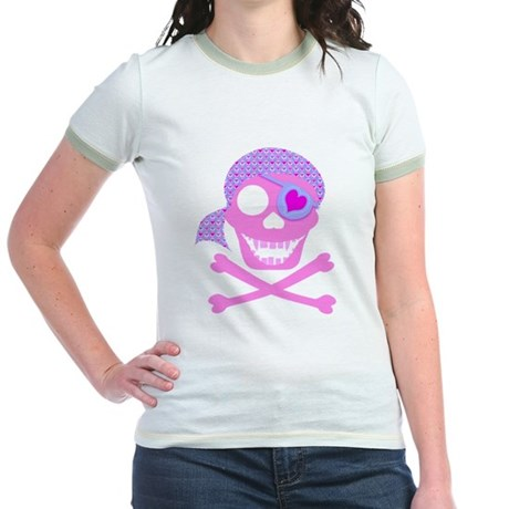 Pink Pirate Skull Jr. Ringer T-Shirt