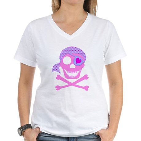 Pink Pirate Skull Women's V-Neck T-Shirt