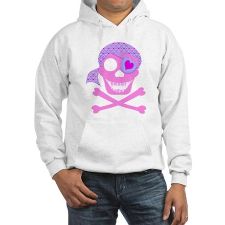 Pink Pirate Skull Hooded Sweatshirt