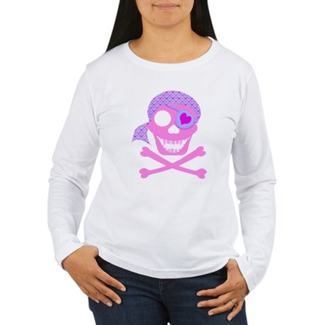 Pink Pirate Skull Women's Long Sleeve T-Shirt
