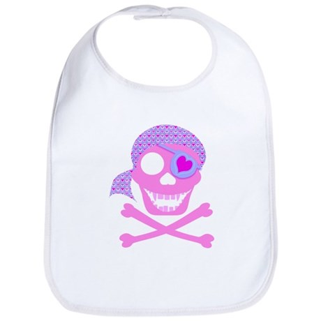 Pink Pirate Skull Bib