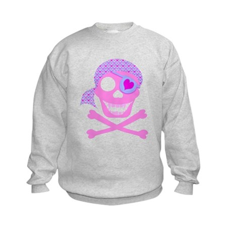 Pink Pirate Skull Kids Sweatshirt