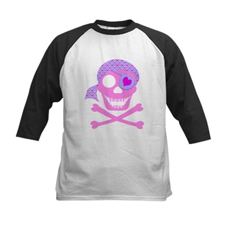 Pink Pirate Skull Kids Baseball Jersey