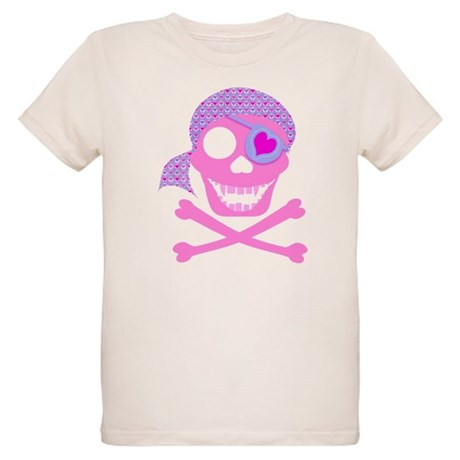 Pink Pirate Skull Organic Kids T-Shirt