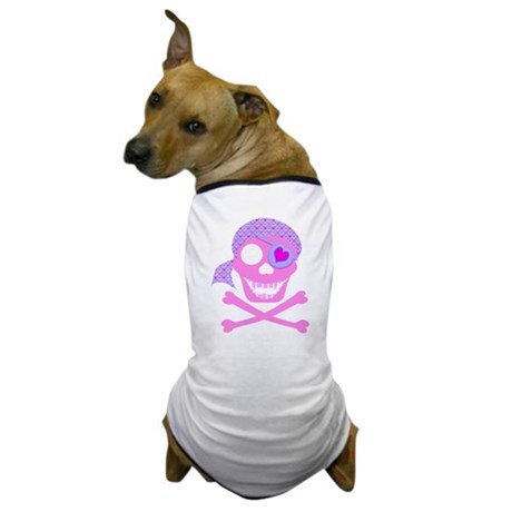 Pink Pirate Skull Dog T-Shirt