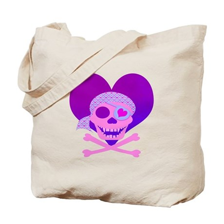 Pink Pirate Skull & Heart Tote Bag