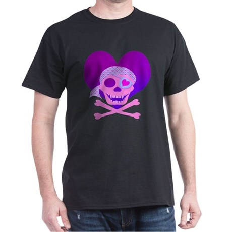 Pink Pirate Skull & Heart Dark T-Shirt