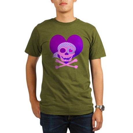 Pink Pirate Skull & Heart Organic Men's T-Shirt (d