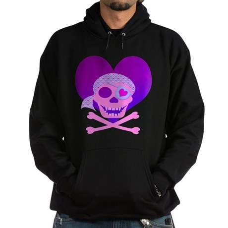 Pink Pirate Skull & Heart Hoodie (dark)