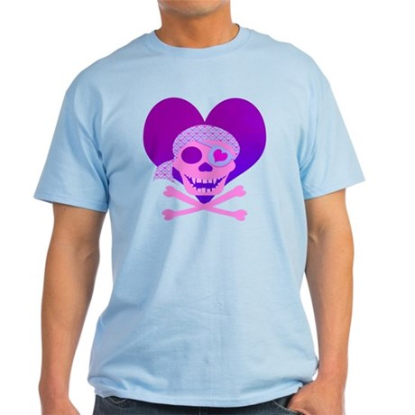 Pink Pirate Skull & Heart Light T-Shirt