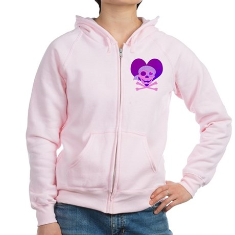 Pink Pirate Skull & Heart Women's Zip Hoodie