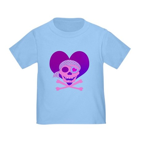 Pink Pirate Skull & Heart Toddler T-Shirt