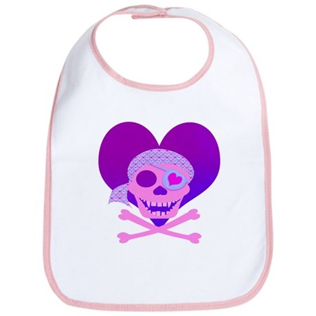 Pink Pirate Skull & Heart Bib