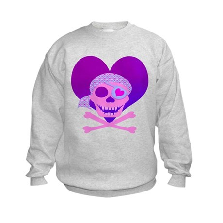 Pink Pirate Skull & Heart Kids Sweatshirt