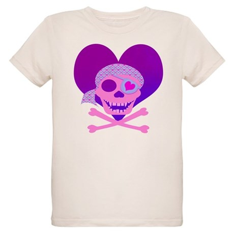 Pink Pirate Skull & Heart Organic Kids T-Shirt