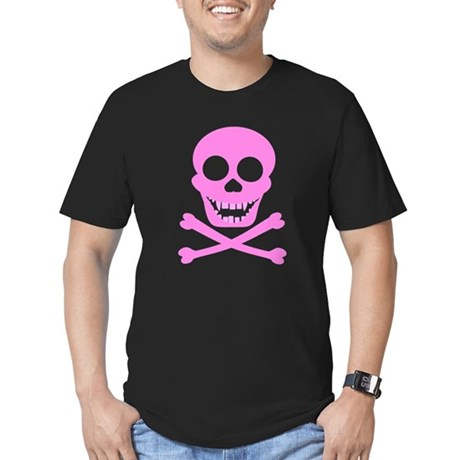 Pink Skull & Crossbones Men's Fitted T-Shirt (dark