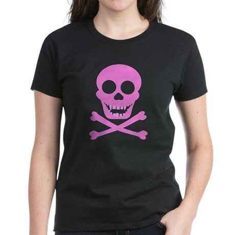 Pink Skull & Crossbones Women's Dark T-Shirt