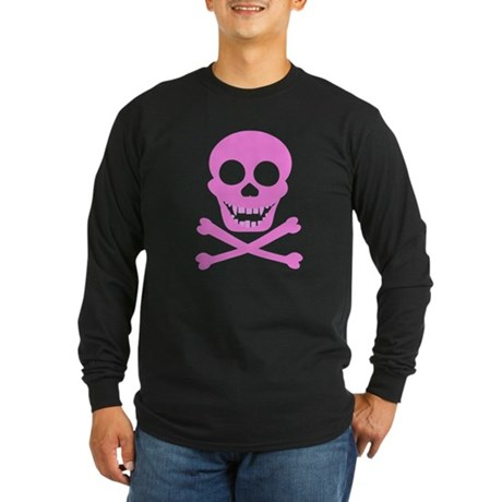 Pink Skull & Crossbones Long Sleeve Dark T-Shirt