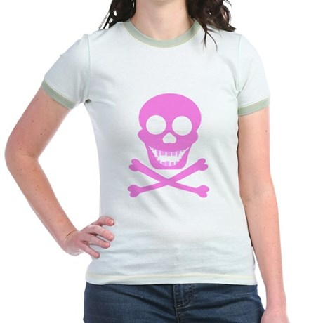 Pink Skull & Crossbones Jr. Ringer T-Shirt