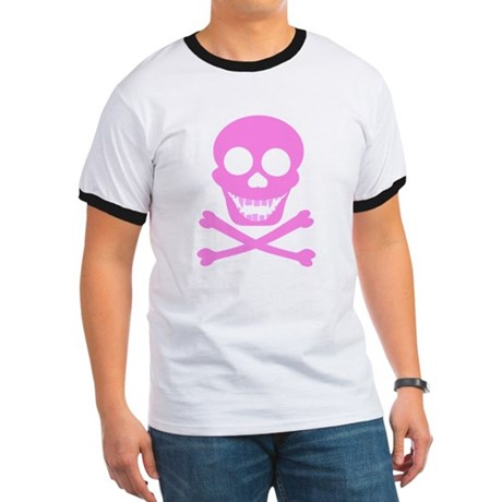 Pink Skull & Crossbones Ringer T
