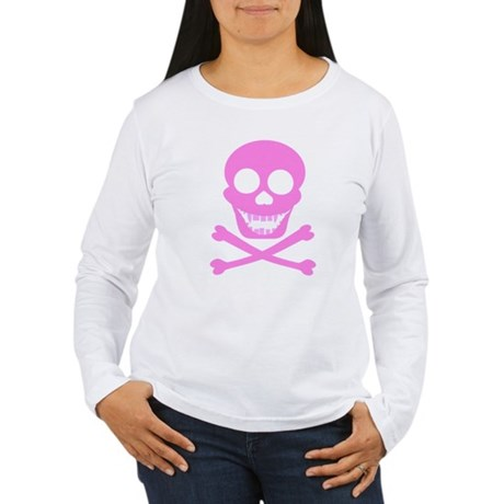 Pink Skull & Crossbones Women's Long Sleeve T-Shir
