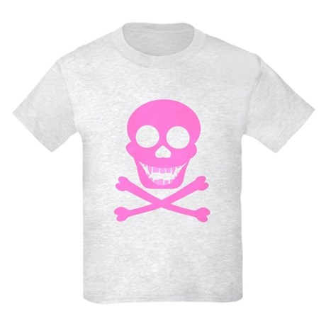 Pink Skull & Crossbones Kids Light T-Shirt