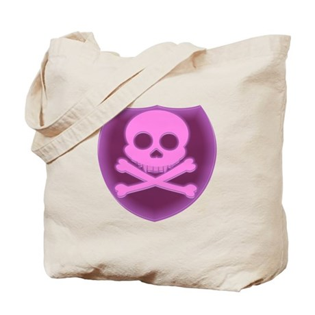 Pink Skull Badge Tote Bag