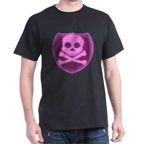 Pink Skull Badge Dark T-Shirt