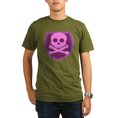 Pink Skull Badge Organic Men's T-Shirt (dark)