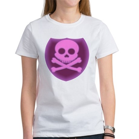 Pink Skull Badge Women's T-Shirt
