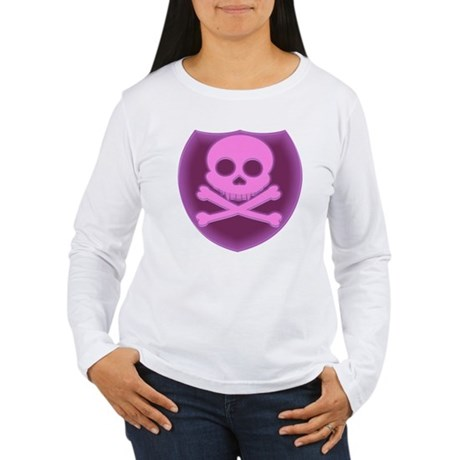 Pink Skull Badge Women's Long Sleeve T-Shirt