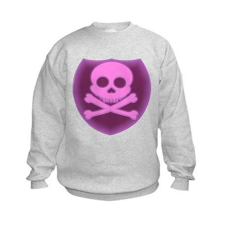 Pink Skull Badge Kids Sweatshirt