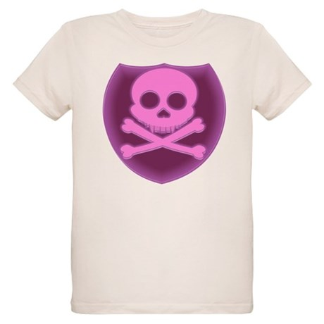 Pink Skull Badge Organic Kids T-Shirt