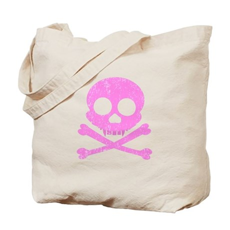 Distressed Pink Skull Tote Bag