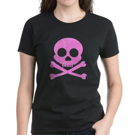 Distressed Pink Skull Women's Dark T-Shirt