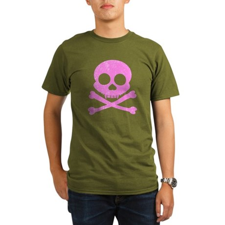 Distressed Pink Skull Organic Men's T-Shirt (dark)