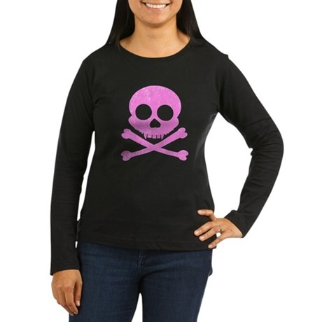 Distressed Pink Skull Women's Long Sleeve Dark T-S