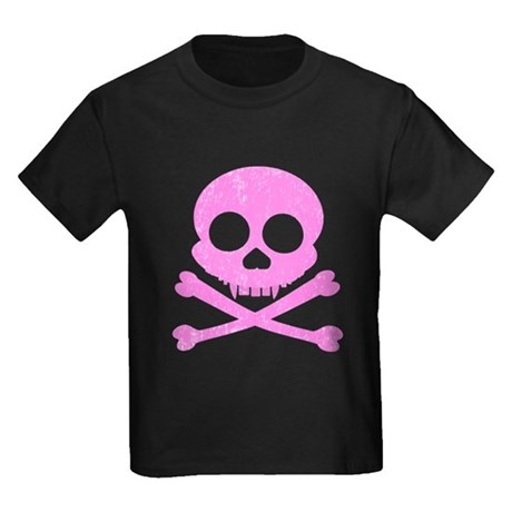 Distressed Pink Skull Kids Dark T-Shirt