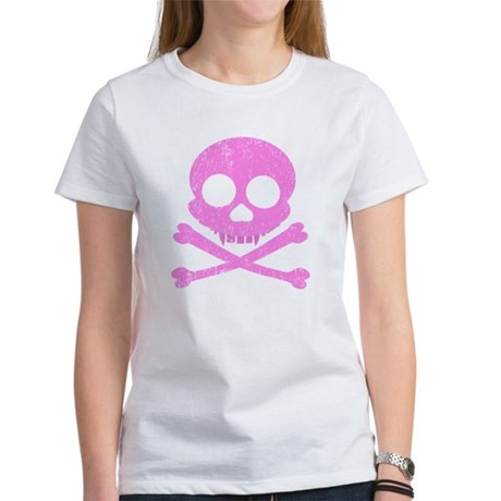 Distressed Pink Skull Women's T-Shirt