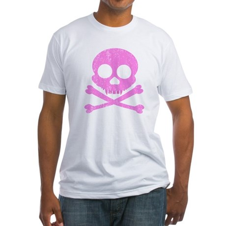 Distressed Pink Skull Fitted T-Shirt